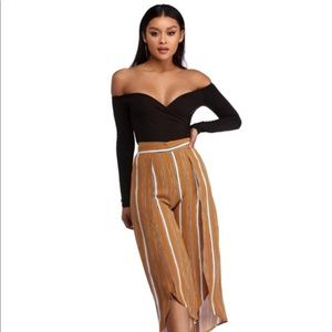 Stripe high waisted slit culottes pants cropped